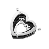 Stainless Steel 2tone silver black Concentric Open Love by UnisexySupplies