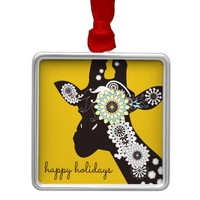 Happy Holidays Funky Cool Giraffe Funny Animal Metal Ornament