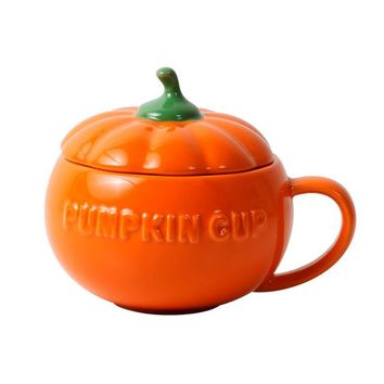 Ceramic Pumpkin Cup with Lid