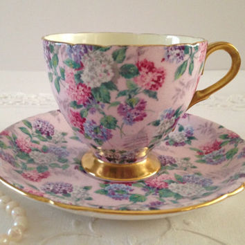 Vintage Shelley Chintz Tea Cup & Saucer Summer Glory Pattern