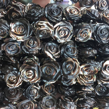 brown shell rose floral beads -double sides hand engraved mother of pearl beads - double sides caved flower beads  -10 beads