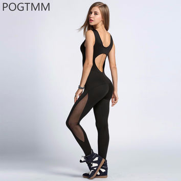 Women Sporting Backless Romper Jumpsuit Black Fitness Bodycon Bodysuit Mesh Long Pants Overalls Female Summer Active Wear Outfit
