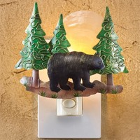 Bear Scenic Night Light with Hand Cut Metal and Luminescent Capiz Shell