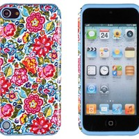 DandyCase 2in1 Hybrid High Impact Hard Clolorful Blooming Flowers Pattern + Sky Blue Silicone Case Cover For Apple iPod Touch 5 (5th generation) + DandyCase Screen Cleaner