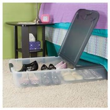 Sterilite® Underbed Storage Bin Clear with Gray Lid 18.5gal