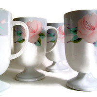 Vintage Footed Mugs Saltera China Victorian Rose, Cottage Chic Table, Pink Roses