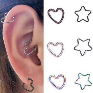 1PC Heart/Star Shaped Tragus Piercings Hoop Helix Cartilage Tragus Daith Ear Studs Lip Nose Rings Piercing Jewelry