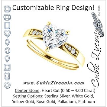 Cubic Zirconia Engagement Ring- The Ruth (Customizable 7-stone Heart Cut Style with Vintage Filigree)