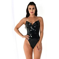 Candy Shell Black PU Patent Vinyl Faux Leather Strapless V Neck Cut Out Thong Bustier Bodysuit Top