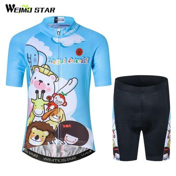 Weimostar Boys Girls Outdoor Cycling Jersey Set Summer Short Breathable Kids Bicycle Cycling Clothing Children MTB Bike Jersey