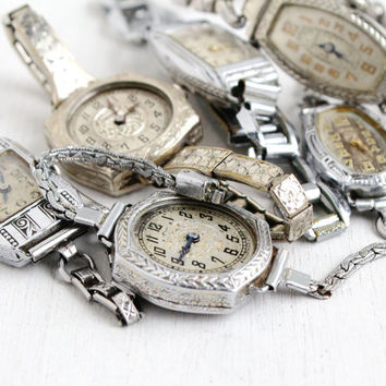Antique Art Deco Ladies Watch Lot- 1920s 1930s 6 Watches for Parts, Repair, or Re-purpose Vintage Steampunk Supplies Jewelry