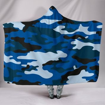 Blue Camouflage  Hooded Blanket