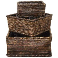 Dark Brown Square Maize Basket Set | Hobby Lobby