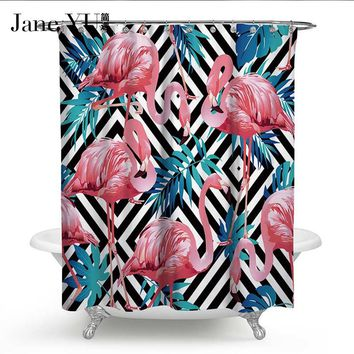 JaneYU 9 Colors 13PCS SET Polyester Waterproof cloth Shower Curtains Flamingo Printing Bath Curtain with 12 hooks shower curtain