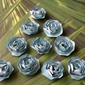 light blue dahlia Loose table confetti wedding paper flowers Bridal Shower Decor Mini roses Table scatter Baby nursery party decorations