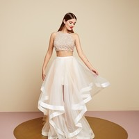 Glamour by Terani Couture Beaded Top & Organza Two-Piece Ballgown | Nordstrom