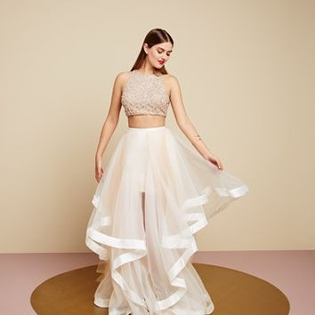 ce6a75de145d Glamour by Terani Couture Beaded Top & Organza Two-Piece Ballgown |  Nordstrom