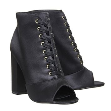 Office Antoinette Lace Up Boots Black Satin - Ankle Boots