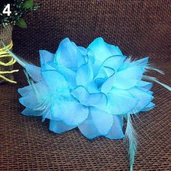 2016 Bridal Wedding Party Flower Fascinator Elastic Pin Hair Wrist Corsage Brooch Headband 8NVE