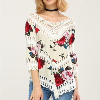 New Arrive Summer Womens Flower Knit Long Sleeve V Neck Swimwear Cover Up Tops T Shirt Loose Blouse Tee Beach Wear Black White