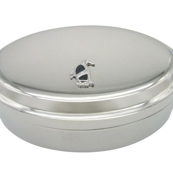 Black and Silver Toned Penguin Bird Pendant Oval Trinket Jewelry Box