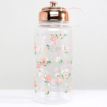 New Look Floral Print Large Water Bottle at asos.com