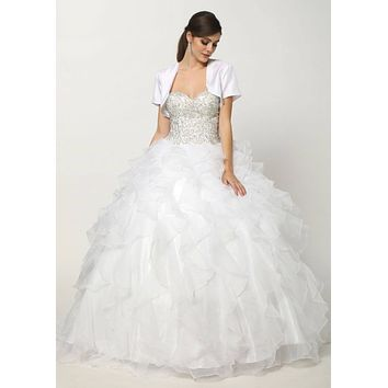 Corset Bodice Strapless Ruffled Tiered White Puffy Gown