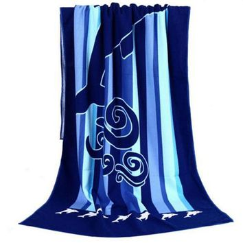 180*100 Absorbent Microfiber Drying Bath Beach Towel Washcloth Swimwear Shower Vertical Stripe Dolphin