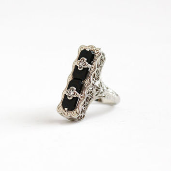 Antique Art Deco 14K White Gold Black Onyx & Diamond Belais Ring - Vintage 1920s Size 4 Filigree Black Gemstone Statement Fine Jewelry