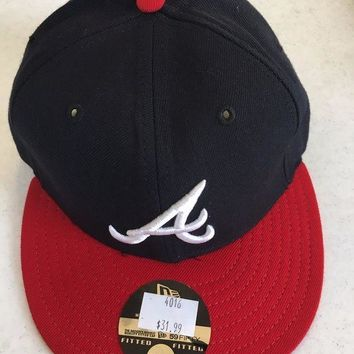 ICIKIHN ATLANTA BRAVES MLB NEW ERA 5950 NAVY W/ WHITE 'A' RED BRIM GRAY UNDER FITTED HAT