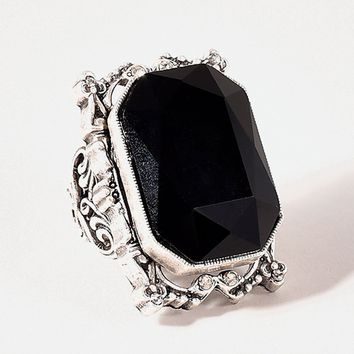 Silver & Black Grand Octagon Crystal Deco Ring