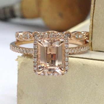 Diamond Wedding Ring Sets!Morganite Engagement Ring Solid 14K Rose Gold,6x8mm Emerald Cut Morganite,Art Deco Antique Stackable Matching Band