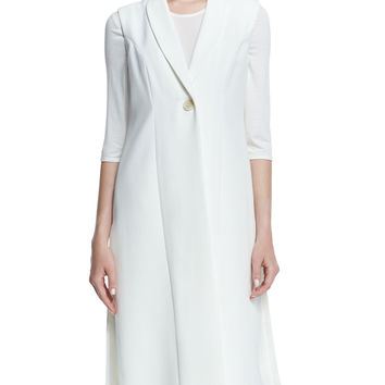 Sleeveless Long One-Button Vest, Size: