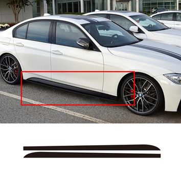 A Pair Matte/Gloss Black New Logo M Performance Side Skirt Sticker Body Decal 5D carbon Fibre For BMW F30 F31 M-Packet