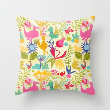 Birds summerday - Pattern Throw Pillow by Krusidull Illustrations