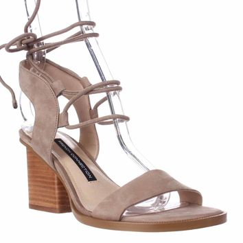 French Connection Jalena Lace Up Ankle Strap Sandals, Earth/Earth, 9 US / 40 EU