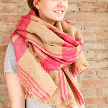 Check Blanket Scarf - Pink