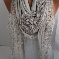 Light Gray Jersey Rose Shawl/ Scarf - Headband -Cowl with Lace Edge