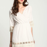 CREAM CROCHET TRIM WRAP DRESS