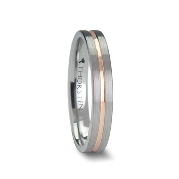 Rose Gold Grooved Center Tungsten Ring for Women