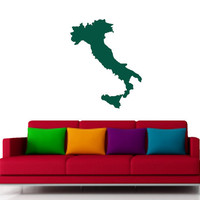 Italy Wall Map Vinyl Design- Many Colors to Choose From -Vinyl Decal - Wall Art