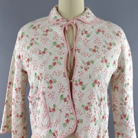Vintage 1950s Winks Pink Floral Print Quilted Bed Jacket