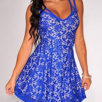 Blue Floral Lace V-Neck Strappy Mini Dress