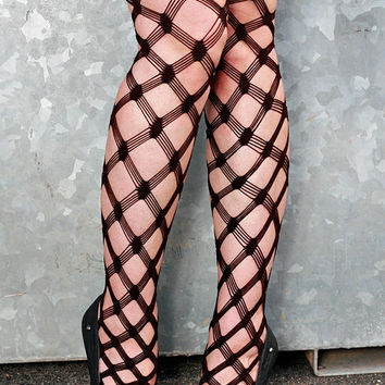 High Quality  Beige, Chocolate Brown, Black, White, Orange/Peach, Pink Large Macrame Fishnet Nylon Stockings Tights Size 10-12