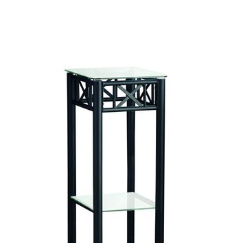 Black Metal Plant Stand With A Tempered Glass Top