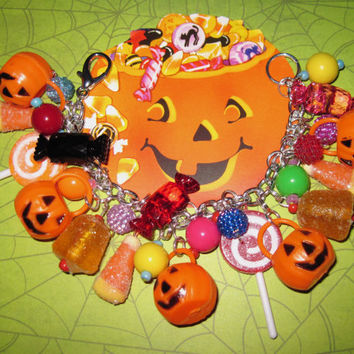 Halloween Candy Charm Bracelet Jewelry Jack-o'-lantern Treat Baskets Goodies Gumdrops Lollipop Trinkets Candy Beads OOAK Statement Piece