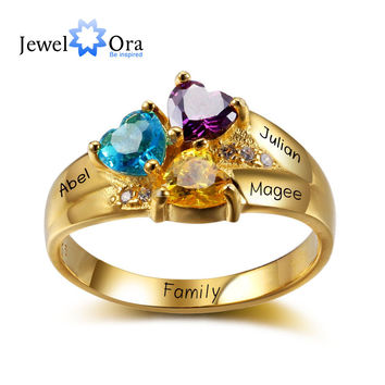 Personalized Birthstone Ring Gold Plated 925 Sterling Silver