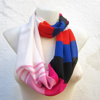 infinity scarf Loop scarf Neckwarmer Necklace scarf Fabric  Chiffon Scarf   Red  White Blue Black