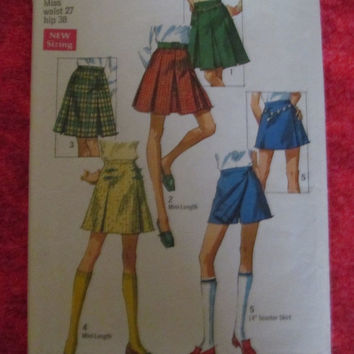 Spring Fever Sale 1960's Simplicity Sewing Pattern, 8397! 2 to choose from, hip 34 1/2, or hip 38, Size Small to Medium, Pleated Skirts, Sch