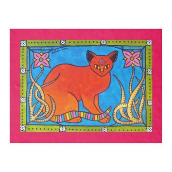 Indian Cat With Lilies Colorful Cat Design Fleece Blanket